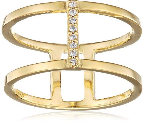 caï Damen-Ring 925 Sterling Silber gelb vergoldet Topas weiß