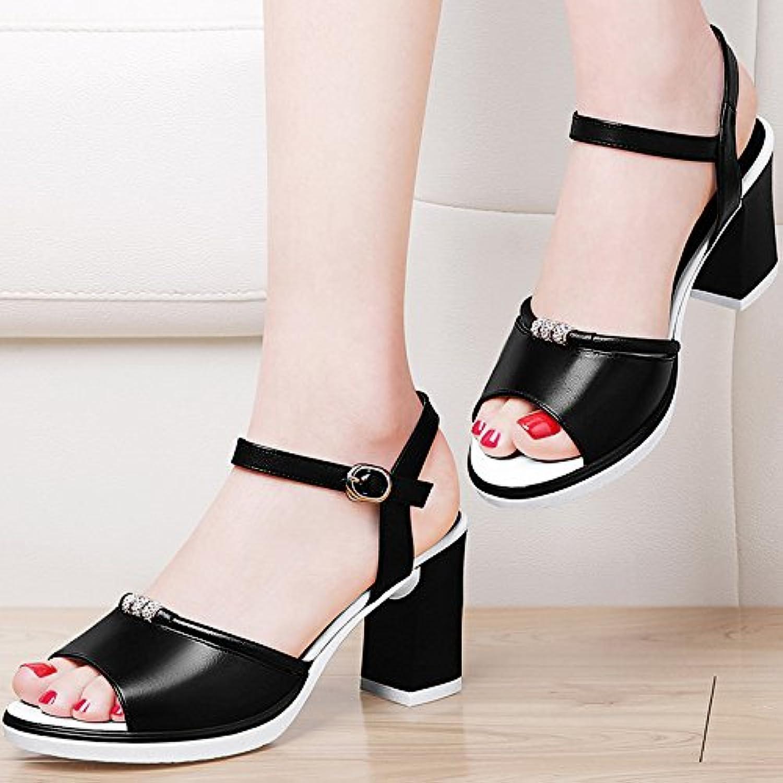 HUAIHAIZ Tacones de Mujer Dew-Toe Sandalias Hembra Alta Heel Shoes Negro Zapatos de Noche,35, Negro