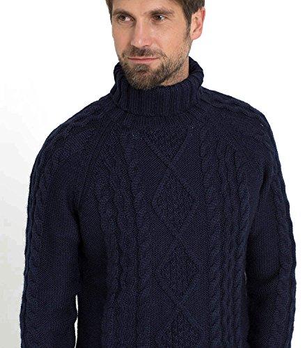 WoolOvers Pull irlandais à col roulé - Homme - Pure laine Navy