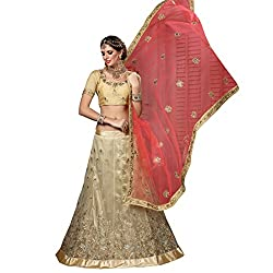 WomenS Beige Color Embroidered Lehenga -ASKQA641