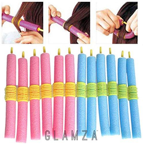 Glamza - Juego de 12 rizadores de pelo mágicos, suaves y flexibles - Rizos sin calor
