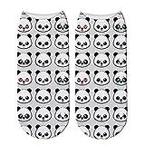 WYLLA 5 Pares 3D Impreso Corto Lindo Panda Calcetines De Algodón para Animal Panda Oso Calcetines Primavera Verano Divertido Calcetines De Tobillo Unisex