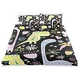 ISAOA Bettwäsche-Set mit Dinosaurier-Muster, Kristallsamt, 167,64 x 228,6 cm, für Kinder, Bettdeckenbezug und 2 Kissenbezüge