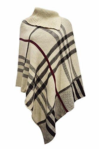 Donna Nuovo Tartan Polo Collo Caldo Pullover Scialle Poncho Taglia Unica. Taglia unica UK 8a 22 Stone & Black Check Print Taglia unica