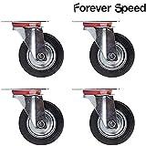 Forever Speed 4 pezzi 125 mm ruote di trasporto Ruote ruote mobili ruote ruote portata 100 kg pro ruolo nero gomma pesante lamiera d' acciaio, zincato argento/nero