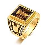 Aidsaer Ringe Silber Boho Ring Silber Herren Braun Rechteck Braune Zirkonia Kaninchen Ringgröße 54 (17.2) Alltag,Mein Herz Schlägt Deinen Takt, Ring Für Herrn