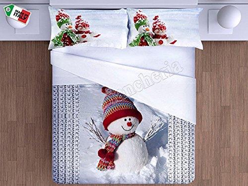 R.p. parure copripiumino sacco letto matrimoniale 2 piazze pupazzo di neve stampa digitale alta risoluzione - prezioso cotone made in italy - idea regalo natale
