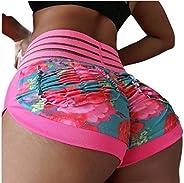 CBTLVSN Womens Yoga Shorts Ruched Push Up High Waist Sports Butt Lift Shorts