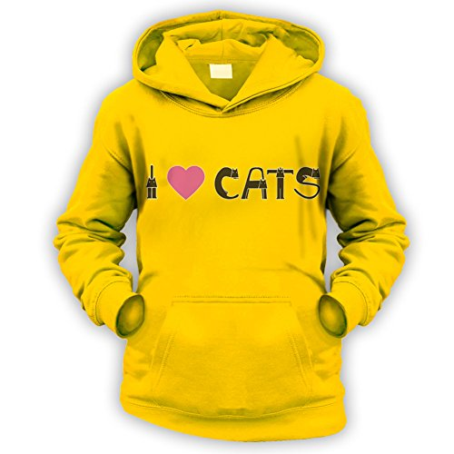 This Way Up I Love Cats II Kids Hoodie -x9 Colours- XS To XXL Sizes (1 To 13 Years)