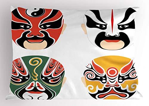 ABAKUHAUS Kabuki-Maske Kissenbezug, Drama Kostüme, Dekorativer Standard Queen Size Gedruckter Kissenbezug, 75 x 50 cm, Mehrfarbig