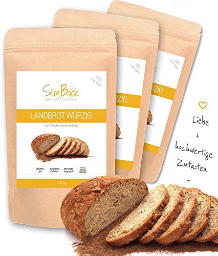 SlimBack - Low Carb Landbrot Würzig - 3er Pack (Ergibt ca. 1440g) - Brot Backmischung -...