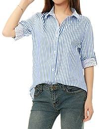 cdf8bcc1feda Allegra K Women s Vertical Stripes Button Down Long Roll up Sleeves Shirt