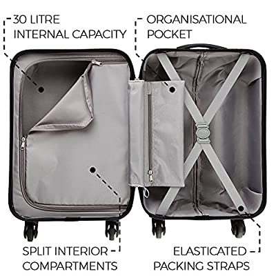 Cabin Max Tuscany Super Lightweight 2.4kg ABS Hard Shell Travel Carry On Cabin Hand Luggage Suitcase with 4 Wheels, Approved for Ryanair, Easyjet, British Airways, and Many More,