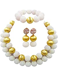 40e1f3a7d6 laanc Nigerian African Wedding Beads 2 Layers Multi-Color Imitation Pearls  Jewelry Sets