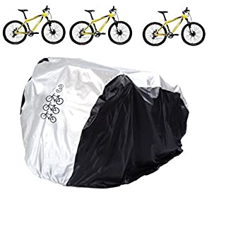 Aiskaer Nylon Waterproof Bicycle Cover Outdoor Rain Protector for 3 Bikes-dustproof and Sunscreen.Large Size for 29er Mountain Bike Cover, Electric Bike Cover, Multiple Kids' Bike Cover