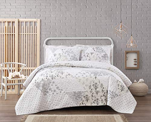 Cottage Classics Kamala Floral Cotton Pieced Quilt Set Twin XL Grey/Cream - Quilt Twin Cottage