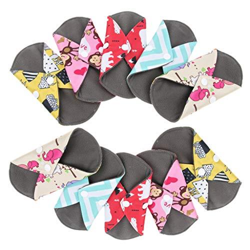 Wiederverwendbare Tuch Menstruation Pads (P Prettyia 10 Stück Wiederverwendbare Damenbinde Tuch Menstruation Pads für Komfort und Unterstützung, mit Flügel)