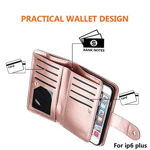 """xhorizon TM Cuir Premium Folio étui [ la fonction de portefeuille] [magnétique détachable] Sac à main bracelet souple Carte Multiple couvrefente pour iPhone 6 plus /6S plus(5.5"""") Rose d'or+glass film"""