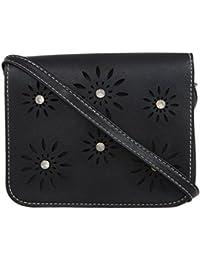 Fur Jaden Black Floral Laser Cut Sling Bag For Women