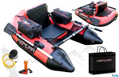 Nomura Belly Boat 170 x 120 x 70 cm inkl. Taschen Netze Pumpe Ruder Boot Transporttasche