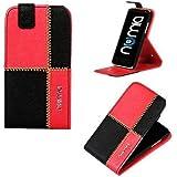 numia Flip Style Handy Tasche für LG Optimus L9 2 / D605 Schwarz Rot ,Premium Schutz Hülle mit Stand Etui NEU