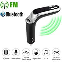 Bluetooth Auto Audio FM Reproductor de MP3 Receptor USB Entrada Transmisor FM Bluetooth de Manos Libres Cargador con Audio, Ranura para Tarjeta del TF para Coche Sannysis (Gris)