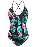 L'AMORE Damen Badeanzug Monokini Bikini Einteiler Blumen Drucken Schwimmanzug Swimsuit Cut Out Bademode