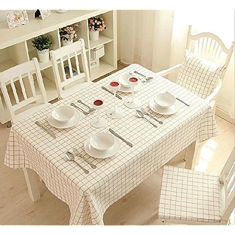 ZHEN Casa minimalista moderno in cotone tinta unita Light caff¨¨ Plaid tavolo quadrato panno . 140*140cm