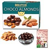 #5: BOGATCHI Happy Anniversary Gifts, Dark Chocolate Coated Roasted California Almonds 100g, FREE Happy Anniversary Greeting Card - Marriage Cake