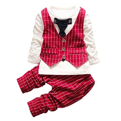 Bebé niñas niños ropa de conjunto, Yannerr impresión a cuadros Tops + pantalones + abrigo trajes (70, rojo)