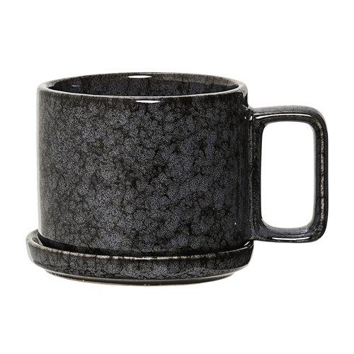 Bloomingville - Tasse/Henkelbecher mit Untertasse - Porzellan - schwarz/grau