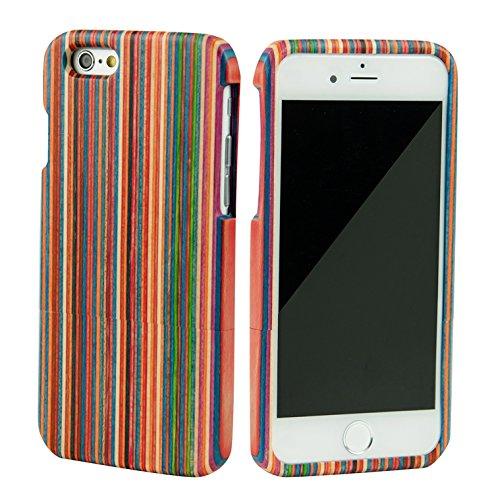 SunSmart Einzigartigen, handgefertigten Original Natural Wood Holzfest Bambus Case/Hülle/Tasche für iPhone 6 4.7''(Farbstreifen) Farbstreifen