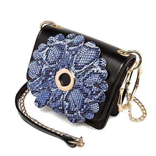 Pacchetto personalizzato di moda estiva, versione coreana dello zaino spostato sulle spalle, mini borse selvagge ( Colore : Nero ) Blu