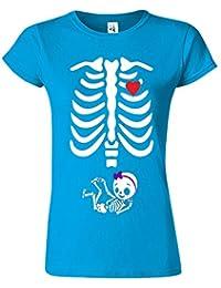 "SNS Online Saphir - S - Ajuster: EU 38"" - Adorable Skeleton Heart Dames T Top T-Shirt"