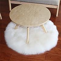 Tapis shaggy rond en fausse peau de mouton pour chaise, Polyester, blanc, Round diameter 100CM