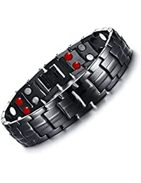 Rainso Mens Black Titanium Steel Double Row Magnetic Therapy Bracelet 4 Power Elements Pain Relief for Arthritis