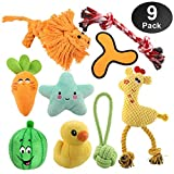 HomeMall Dog Toys for Small Dogs, 9 Pack Interactive Dog Toys Set with Squeak Toys Rope Teething Toys Plush Toy IQ Treat Ball Chew Toys Toss Ball for Dogs