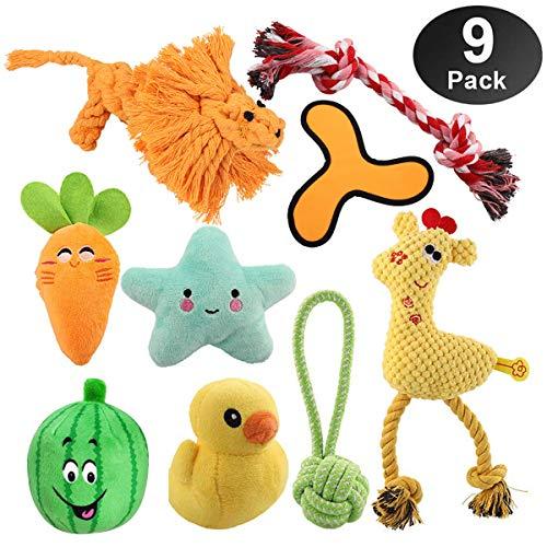 HomeMall Hunde Spielzeug,9 Stück Kauspielzeug Hund Spielzeug unzerstörbar Set Baumwollknoten Spielset Seil Interaktives Quietschspielzeug für Welpe Hunde (Kleines Hunde Spielzeug)