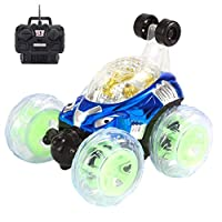 Flash Light Music Special Effects Remote Control Car,Mamum 360° Spinning And Flips With Color Flash & Music For Kids Remote Control Truck (Blue)