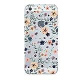 iPhone 5/5s/SE hülle vanki Tasten Schutzhülle Blumen Clear Case Cover Bumper TPU Silikon Durchsichtig Handyhülle für iPhone 5/5s/SE (wenig flower)