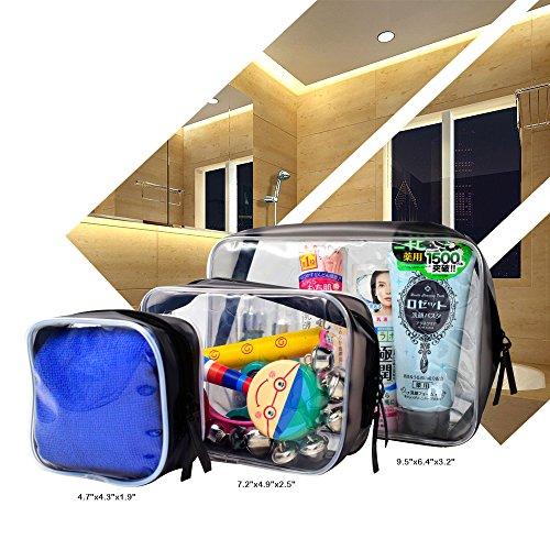 Wasserdicht Transparent Kulturbeutel PVC Tasche Durchsichtig 3 Stück, Doppel-Reißverschluss Kosmetische Reise Organizer