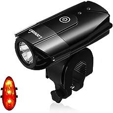 Loowoko LED Fahrradlicht Set, Wasserdicht LED Fahrradlampe, USB Wiederaufladbare LED Fahrradbeleuchtung mit 3 Licht-Modus für Radfahren und Camping