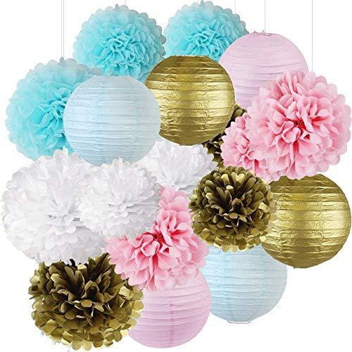 ffenbaren Partei-Versorgungsmaterialien Jungen-oder Mädchen-Baby-Duschen-Dekorationen Baby-Blau-Rosa-Weiß-Gold Seidenpapier-Pompom-Papier-Laternen ()