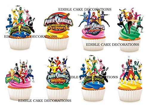 24x Power Rangers Stand Up Essbare Papier Cupcake Topper Kuchen Dekorationen