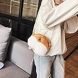 jEZmiSy Lovely Dog Heart-shaped Butt weichen Plüsch Frauen Casual Kette Umhängetasche Golden + White