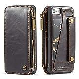WERNG FüR iPhone 8 Flip ReißVerschluss GeldböRse Karte Taste Split Handy Set Retro Einfache Apple 8 Plus SchutzhüLle,Brown,iPhonex/XS