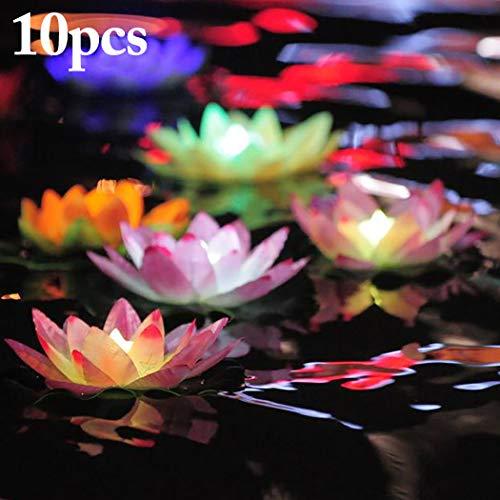 JUSTDOLIFE 10 STÜCKE Weihnachten LED Kerze Lotus Form Schwimm Teelicht Kerzenlicht für Dekor (Schwimmende Lotus Kerzen)