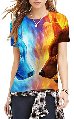 TDOLAH Damen T-Shirt 3D Print Shirt Tee Paar Kostüm Fasching Weltraum Thema Wolf Löwe Katze Tierdruck Eis- & Feuerwolf