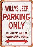 Wise Degree Metal Poster Willys Jeep Parking Only en MšŠtal Mur De Cuisine Art CAFšŠ Garage Boutique Bar DšŠcoration