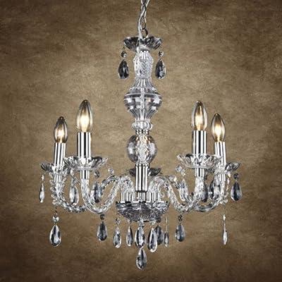 [lux.pro]® Kronleuchte- Modernes Design: verchromte Decken-Leuchte aus Metall & Kunst-Kristall - Ø 52 cm Leuchte - 5 x E14 Sockel - stilvolle Deckenlampe für Wohnzimmer & Schlafzimmer